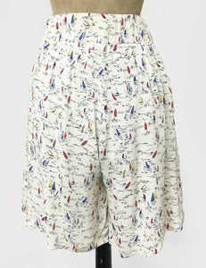 Ivory Nautical Sailboat Print High Waisted Retro Shorts