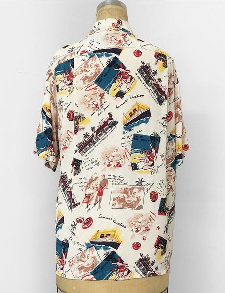 Ivory Vintage Summer Postcard Print Men's Button Up Tiki Sonny Shirt