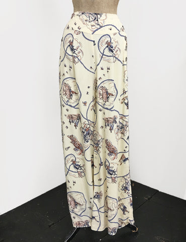 Ivory Vintage Western Print 1940s Style High Waisted Palazzo Pants