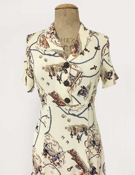 Ivory Vintage Western Print Short Sleeve Tea Length Vintage Day Dress
