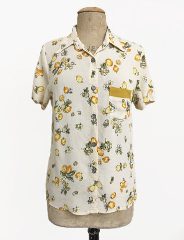 Ivory Lemon Print Button Up Short Sleeve Camp Shirt