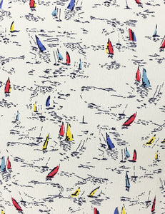 Ivory Nautical Sailboat Print Sleeveless Knee Length Vintage Dress
