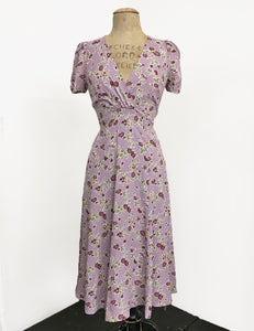 Lavender Floral Vintage Inspired Knee Length Rita Dress