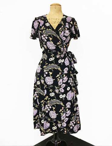 Black & Purple Lavender Fields Biasa Wrap Dress