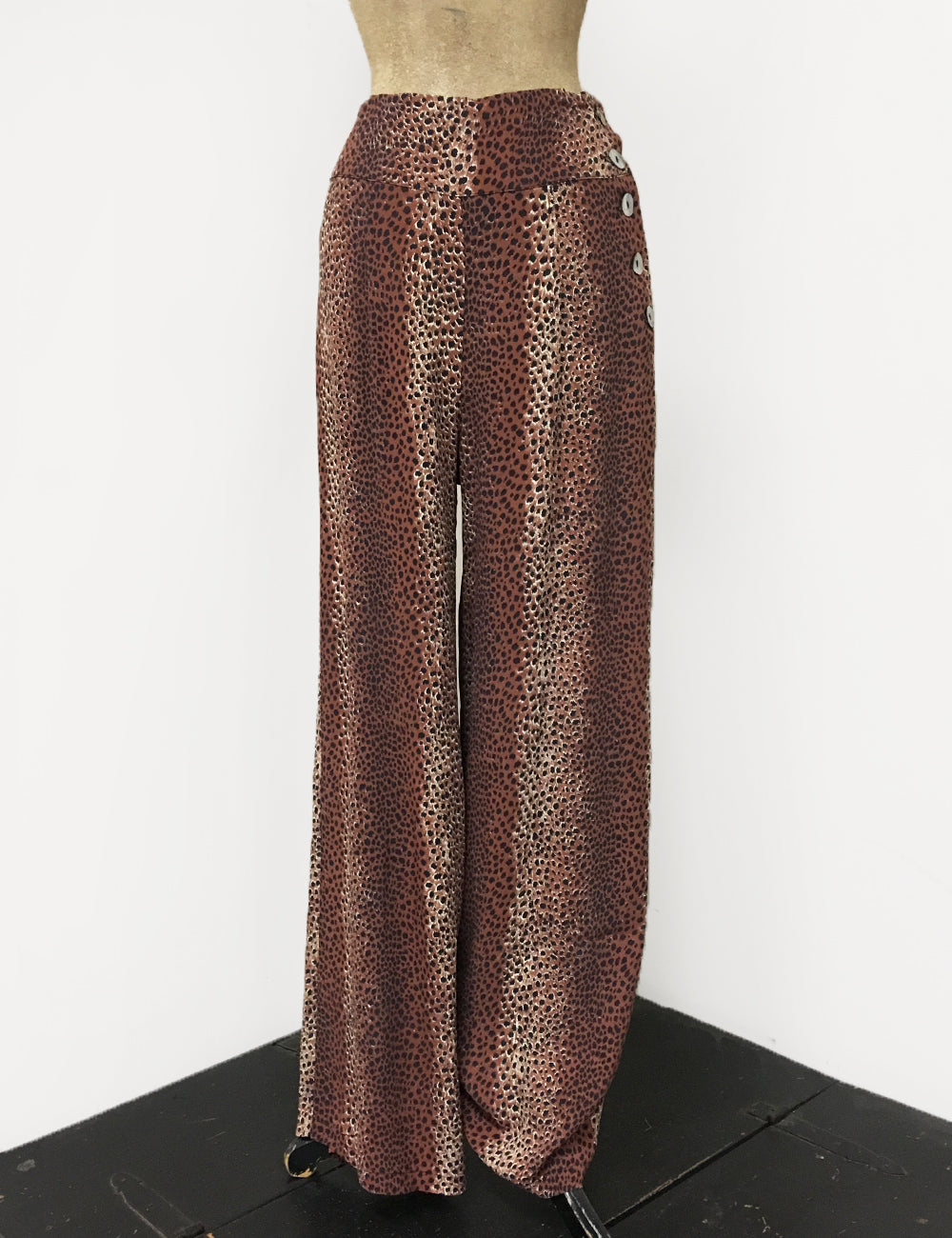 BACK IN STOCK!  Brown Leopard Print 1940s Style High Waisted Palazzo Pants