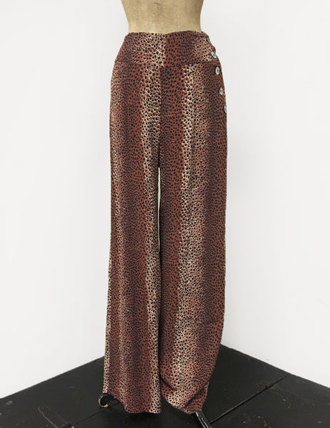 Brown Leopard Print 1940s Style High Waisted Palazzo Pants
