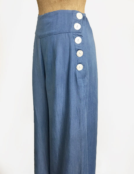 Soft Blue Chambray Wide Legged High Waisted Palazzo Pants