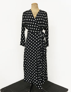 Long Sleeve Black & White Big Dot Cascade Wrap Dress