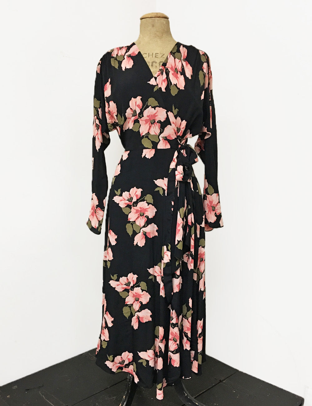 Long Sleeve Pink & Black Tropical Nights Cascade Wrap Dress