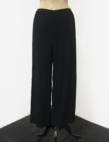 BACK IN STOCK!  Solid Black Louise Lounge Cropped Pants