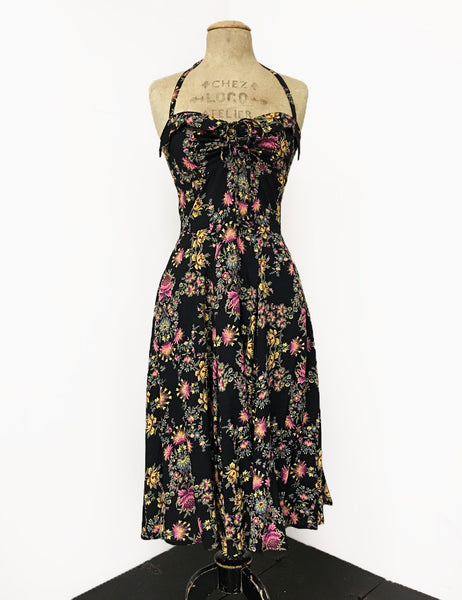 Black & Colorful Baroque Floral 1940s Inspired Marta Halter Swing Dress