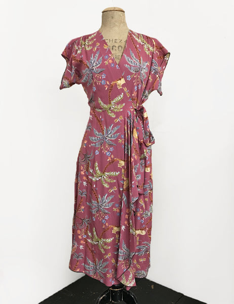 Limited Edition! Mauve In the Jungle 1940s Soft Cascade Wrap Dress