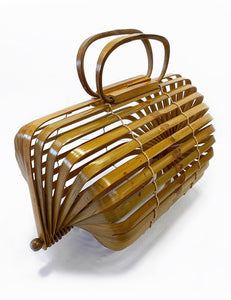 Vintage Style Dark Bamboo Collapsible Tiki Purse