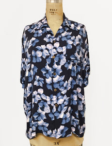 Blue Hibiscus Floral Print Soft Rayon Button Up Sonny Men's Shirt
