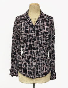 Doris Mayday for Loco Lindo - Metro Print Button Up 1940s Hepburn Blouse