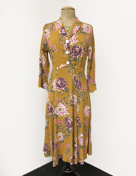 Mustard Spring Floral Print Three Quarter Sleeve Vintage Day Dress