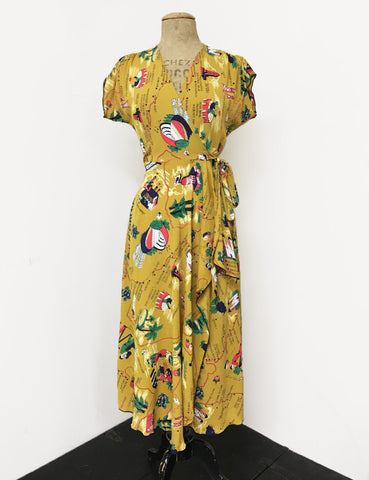 Exclusive Mustard Yellow California Map Print 1940s Style Cascade Wrap Dress