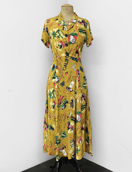 1940s Exclusive Mustard Yellow California Map Print Short Sleeve Tea Length Vintage Day Dress