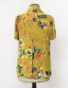 Mustard Yellow Exclusive California Map Print Button Up Short Sleeve Camp Shirt