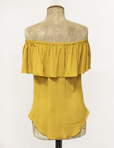 Mustard Yellow Ruffle Top Dolores Peasant Blouse