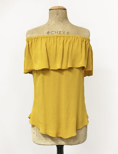 Mustard Yellow Ruffle Top Dolores Peasant Blouse - FINAL SALE