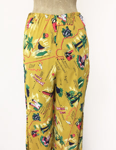 Exclusive Mustard Yellow California Map Print 1940s Style High Waisted Palazzo Pants