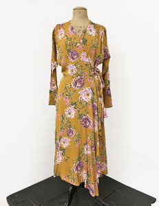Long Sleeve Mustard Yellow Spring Floral Cascade Wrap Dress