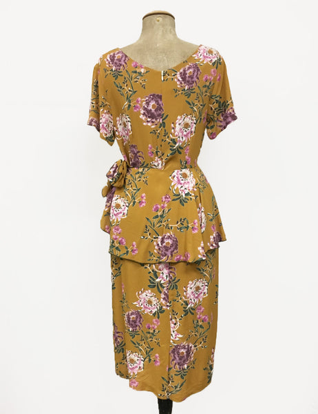 Mustard Yellow Spring Floral Vintage Inspired Peplum Lena Wiggle Dress