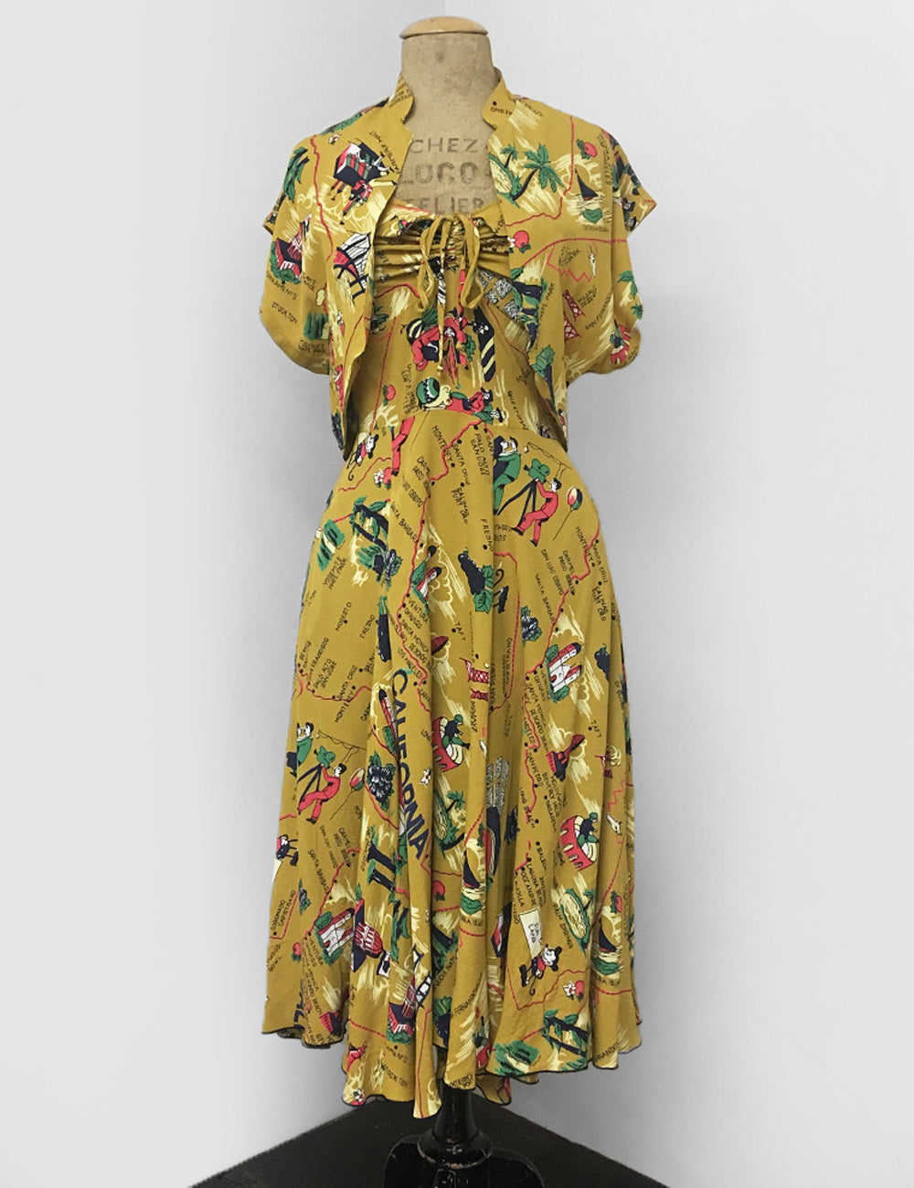 Exclusive Mustard Yellow California Map Print 1940s Marta Halter Swing Dress