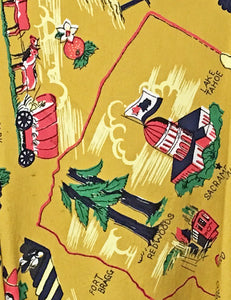 Exclusive Mustard Yellow California Map Print Button Up Mandarin Collar Tea Timer Top