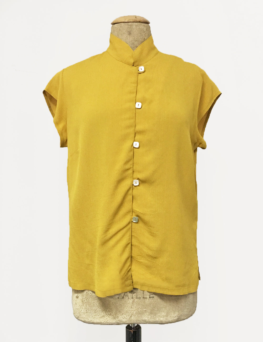 Mustard Yellow Button Up Mandarin Collar Tea Timer Top