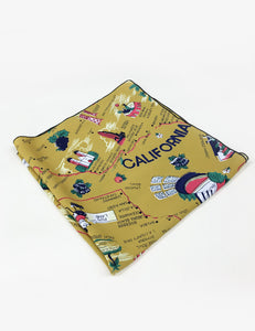 Mustard Yellow California Map Print Square Hair & Neck Scarf