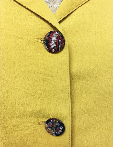 Mustard Yellow 1940s Style Button Up Hepburn Blouse
