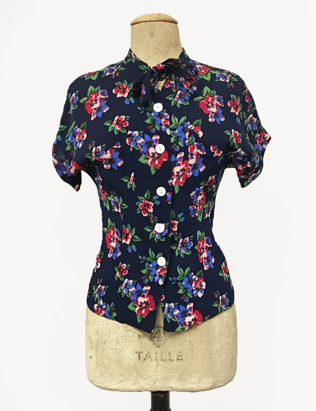 Navy Blue & Red Floral Print 1940s Style Amanda Tie Blouse - FINAL SALE