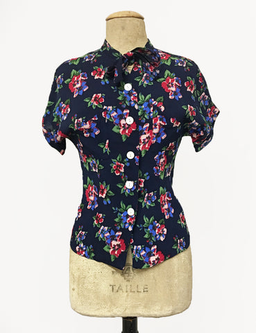 Navy Blue & Red Floral Print 1940s Style Amanda Tie Blouse