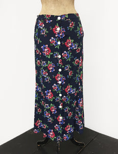 Navy Blue & Red Floral Print Button Front Jade Skirt - FINAL SALE