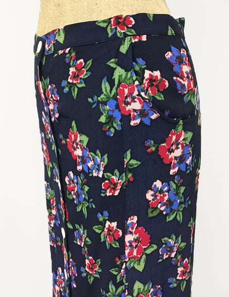 Navy Blue & Red Floral Print 1940s Style Button Front Jade Skirt