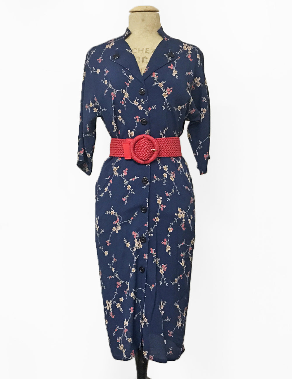 Navy Blue Ivy Floral Button Up Belted 1940s Manhattan Wiggle Dress