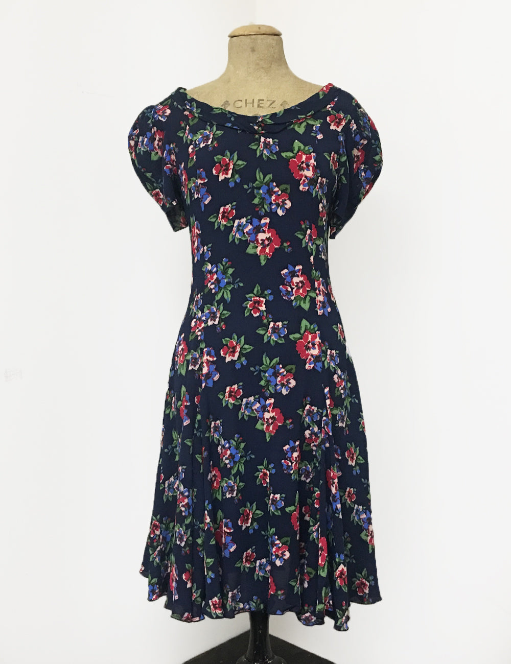 Navy Blue & Red Floral Print 1930s Venice Beach Balboa Swing Dress