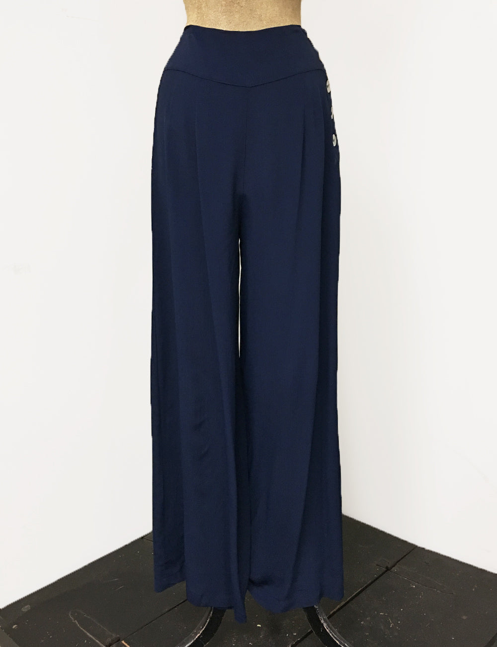 Navy Blue Retro 1940s Style High Waisted Palazzo Pants