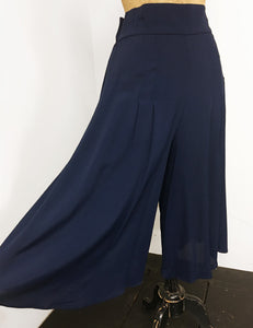 Solid Navy Blue Retro High Waisted Wide Leg Culottes