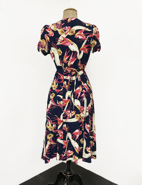 Navy Blue Swallow Print Vintage Inspired Knee Length Rita Dress