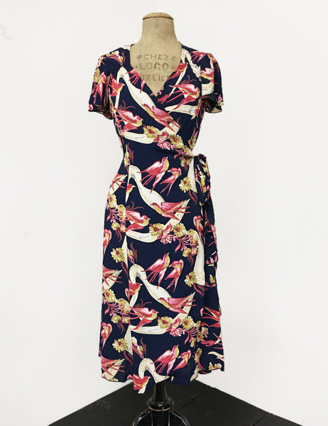 Navy Vintage Swallow Print Biasa Sweetheart Wrap Dress