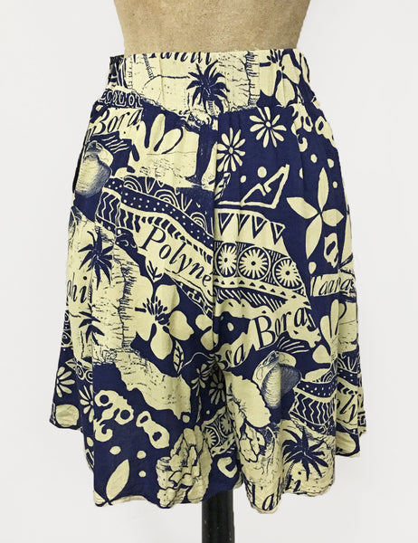Navy Blue South Seas Print Soft High Waisted Retro Shorts