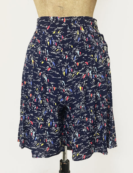 Retro Nautical Navy Sailboat Print High Waisted Shorts