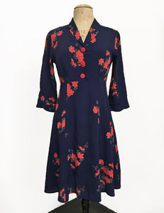 Navy Tattoo Rose Print Three Quarter Sleeve Vintage Day Dress