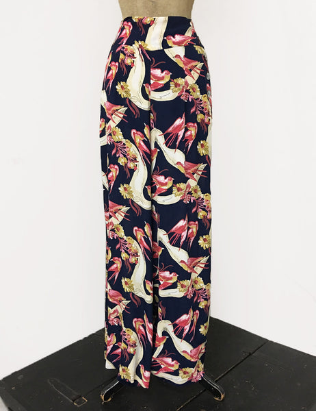 BACK IN STOCK! Navy & Pink Vintage Swallow Print 1940s Style High Waisted Palazzo Pants