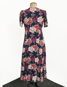 1930s Style Navy Berry Floral Keyhole Pullover Norma Dress