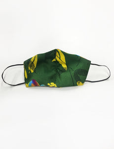 Green Neon Tropical Handmade Washable Face Mask