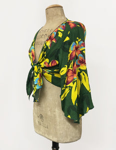 Neon Tropical Floral Soft Angel Wing Self Tie Cover Up Crop Top